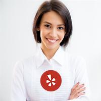 Brunette woman Yelp logo