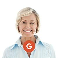 Google logo older blonde woman