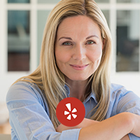 Yelp logo with a blonde woman