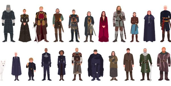 Fictional Game of Thrones characters from the HBO TV series against a white background